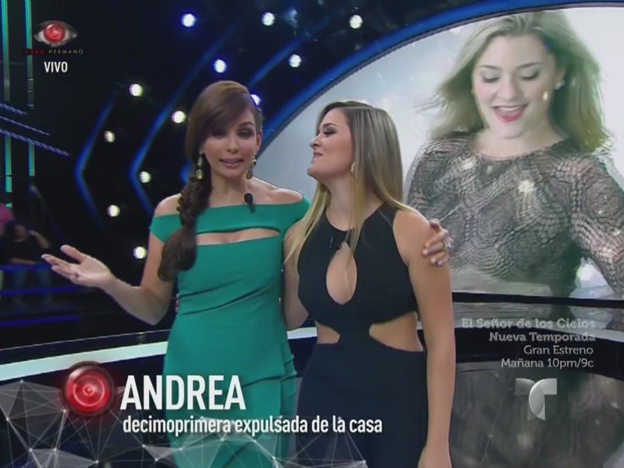 Giselle Blondet y Andrea en el escenario de Gran Hermano