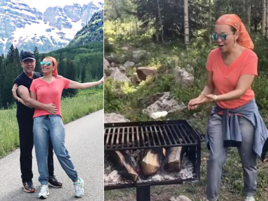 Thalía y Tommy Mottola en las montañas de Colorado
