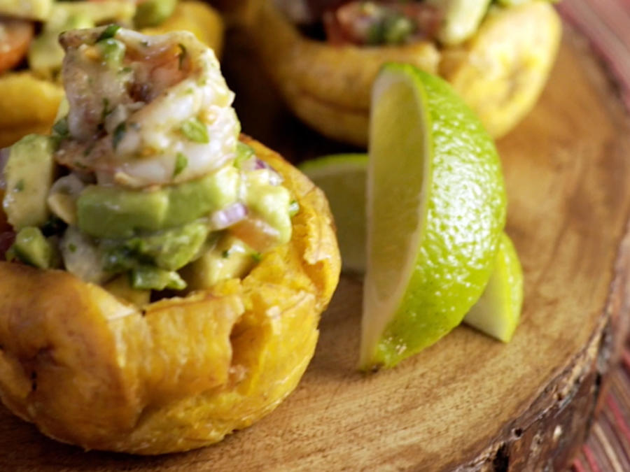 Plantain Cups Filled with Shrimp Recipe