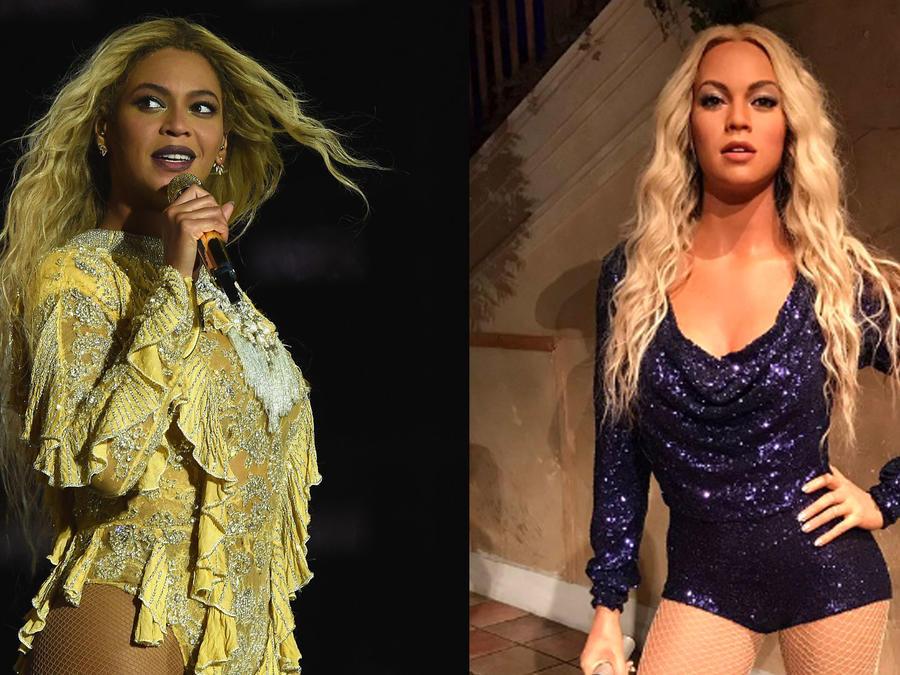 Collage Beyoncé y su figura de cera