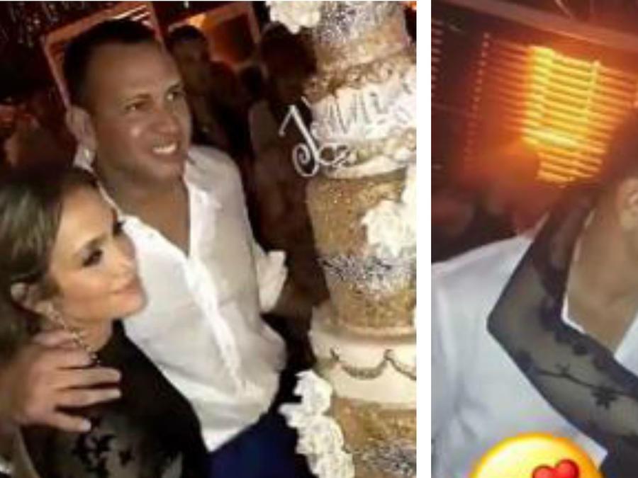 Jennifer Lopez y Alex Rodriguez en su fiesta de cumpleaños