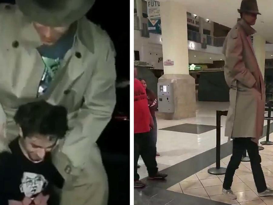 Usaron el truco de la gabardina para ver una película