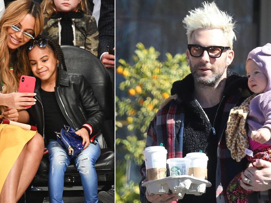 Beyoncé y Adam Levine con sus hijas