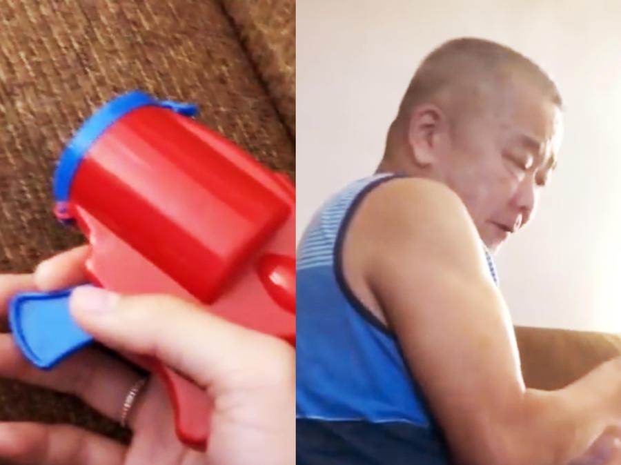 Padre, y pistola de confeti