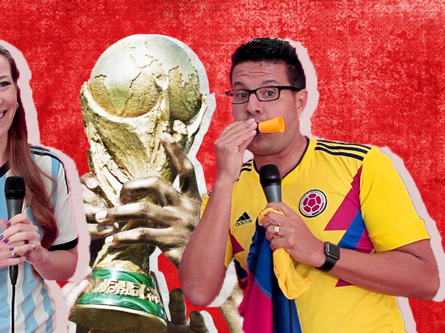 Fans y el trofeo de la copa mundial de la FIFA