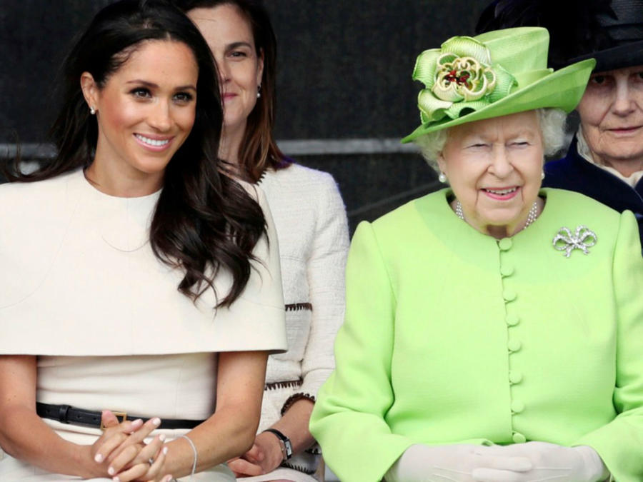 Meghan Markle junto a la reina Elizabeth