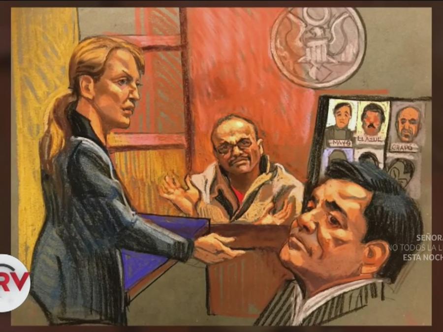 Dibujo de la corte de Brooklyn en la que se juzga a El Chapo