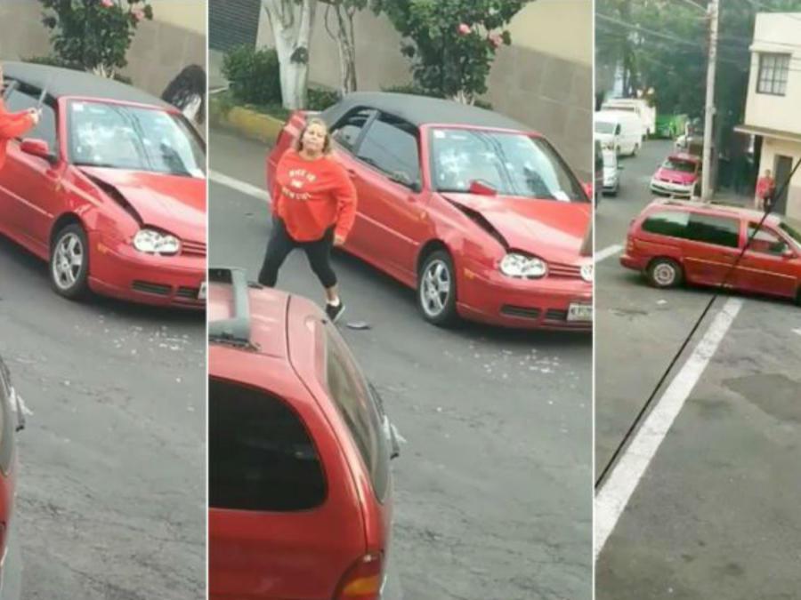 Mujer destroza auto