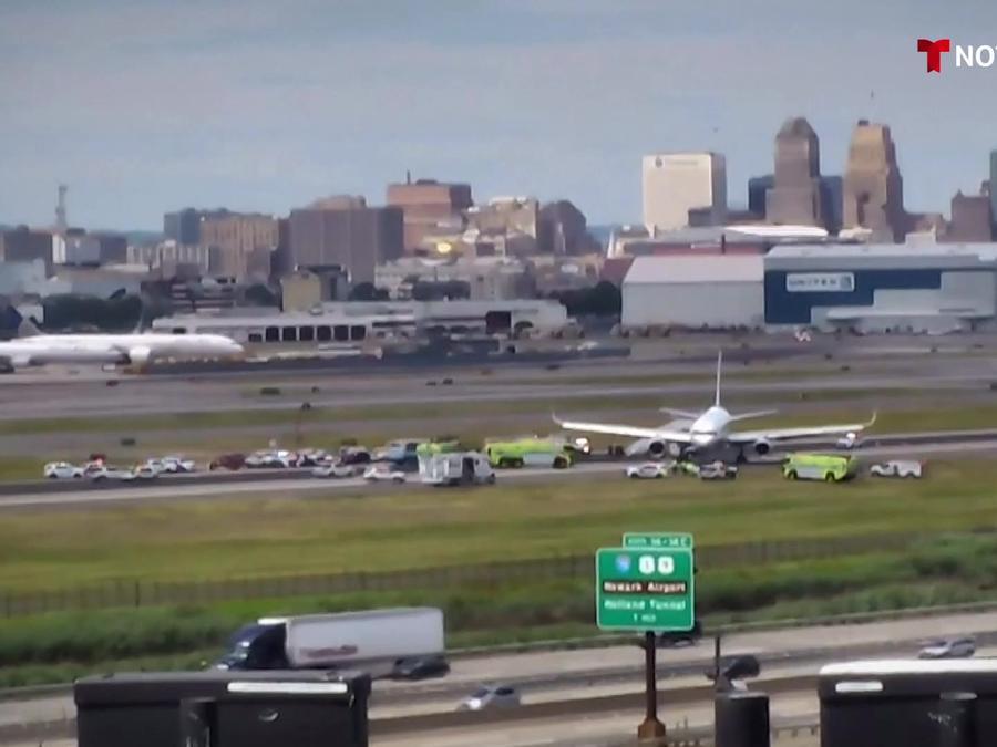 Avión de United accidentado hoy en Newark, Nueva Jersey
