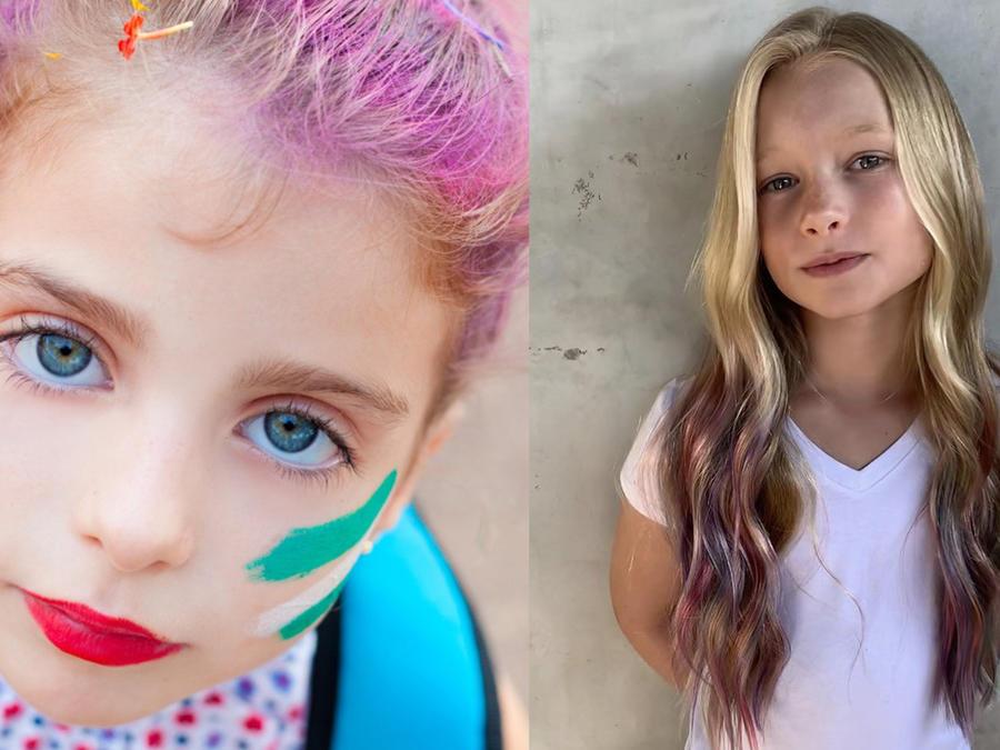 Niños con el cabello pintado - hija de Jessica Simpson (derecha)