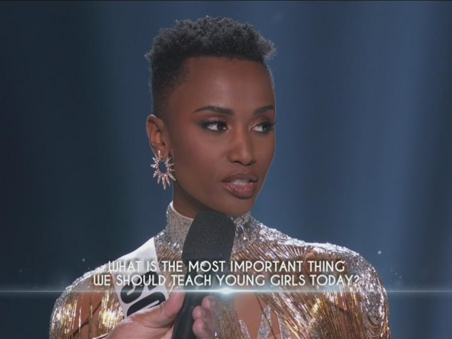 Miss Sudafrica, Zozibini Tunzi, Miss Universo 2019, respuesta