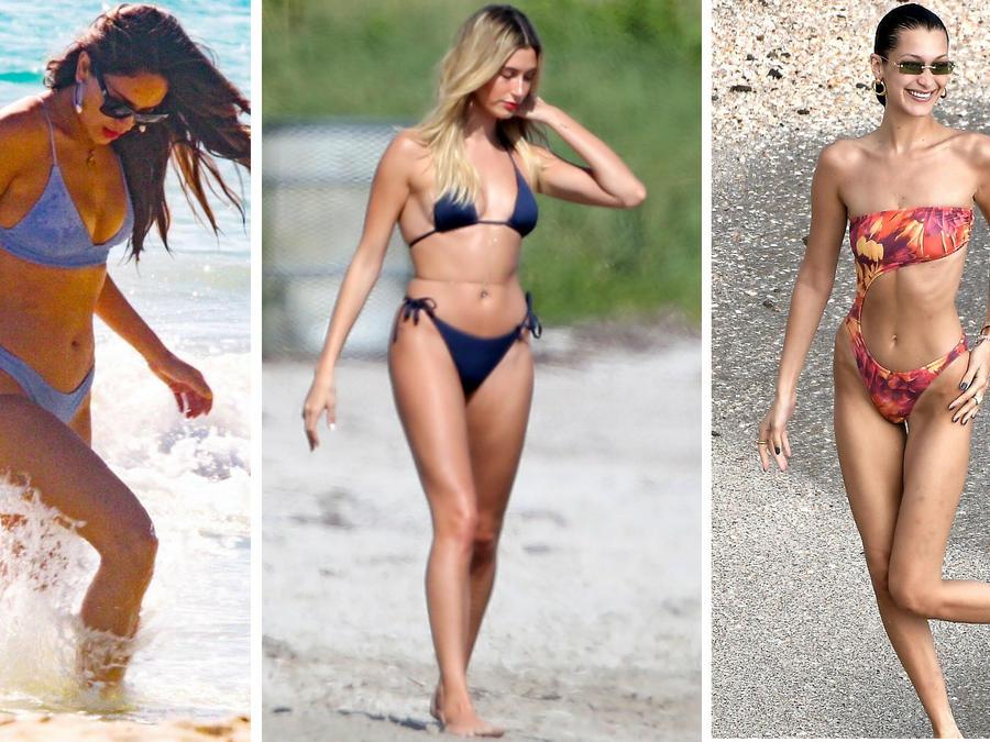 Eiza González, Hailey Baldwin y Bella Hadid en bikini