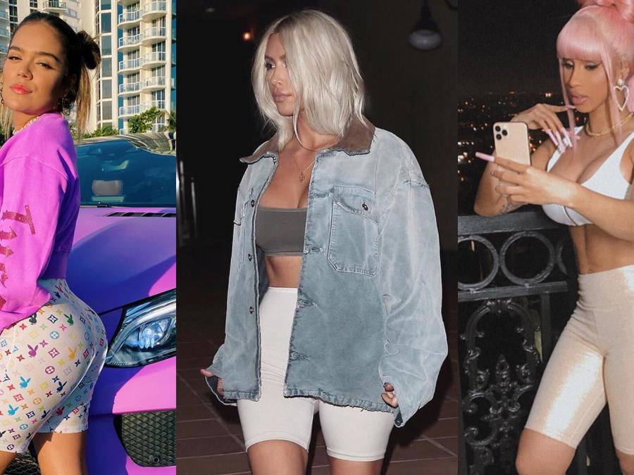 Karol G, Kim Kardashian y Cardi B usando biker shorts