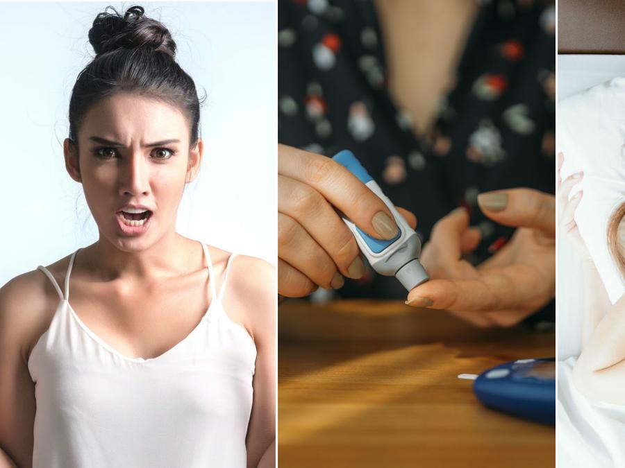 Mujer enojada, toma de glucosa y mujer con insomnio