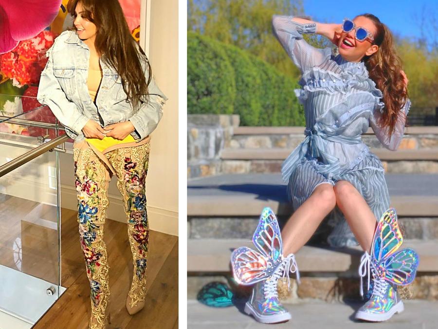 Thalía usando zapatos llamativos