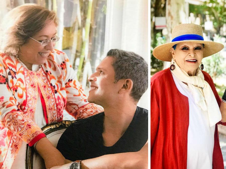 Rodner Figueroa y Miguel Bosé con sus madres