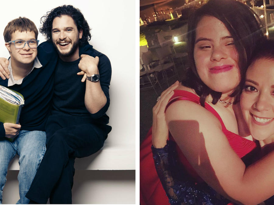 Kit Harington y Fernanda Castillo con sus parientes con Síndrome de Down