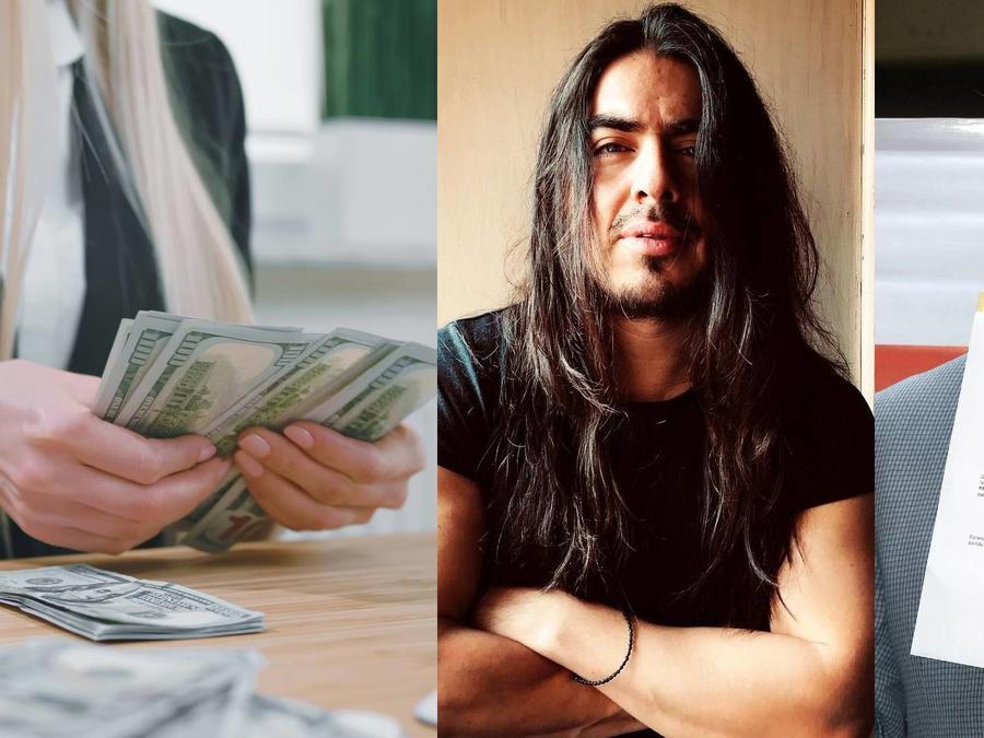 Mujer contando dólares, Rey Grupero y Alfredo Adame