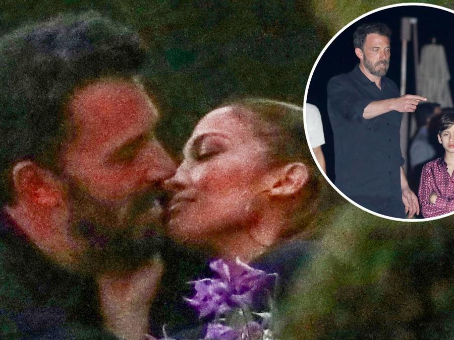 Ben Affleck besando a Jennifer Lopez; Ben Affleck con Max, el hijo de JLo