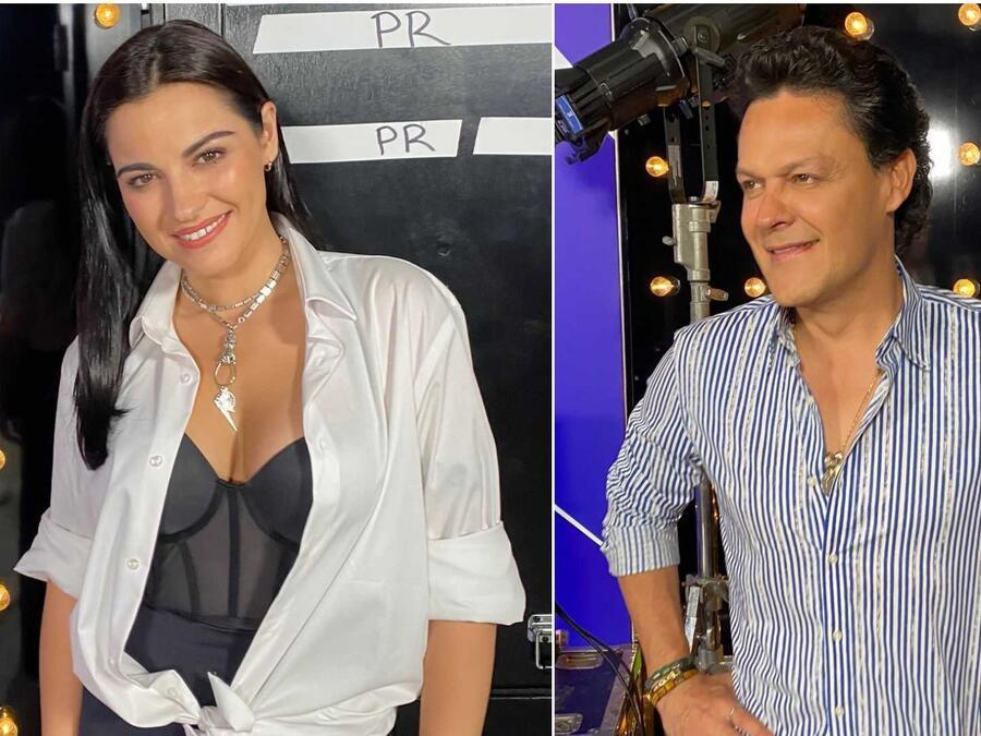 Maite Perroni y Pedro Fernández en el backstage de los Premios Billboard de la Música Latina 2021