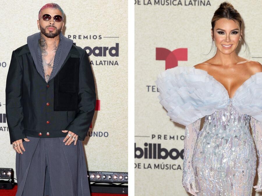 Rauw Alejandro y Elizabeth Gutiérrez en la alfombra roja de los premios Billboard 2021