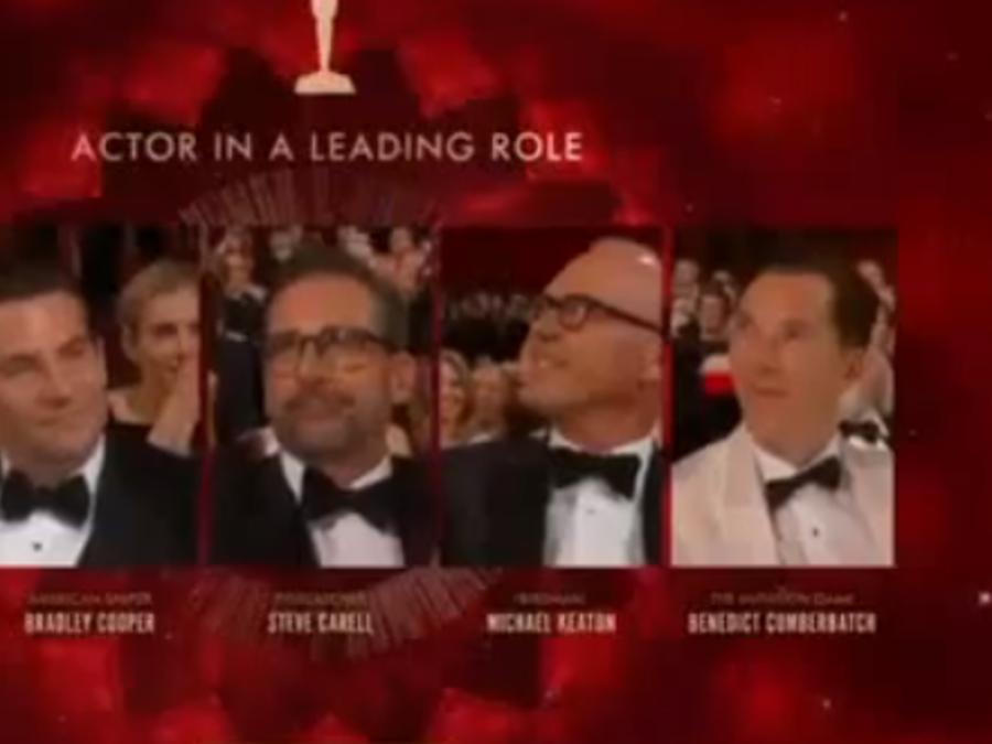 Michael Keaton y otros actores en los Oscar