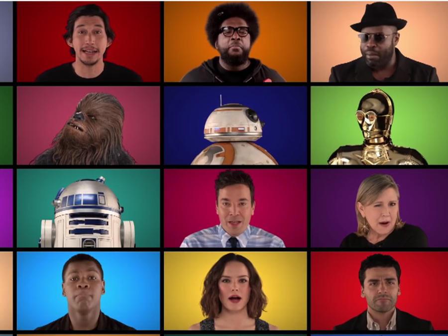 """Los actores de la película """"Star Wars: The Force Awakens"""" cantan temas de la saga con Jimmy Fallon"""