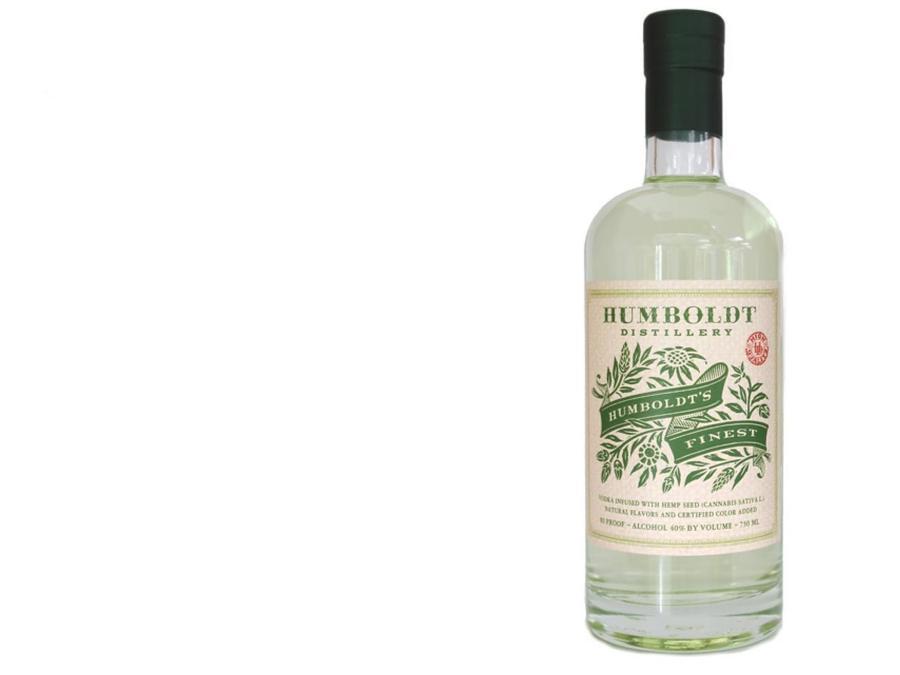 Botella de vodka con marihuana de Humboldt Distillery