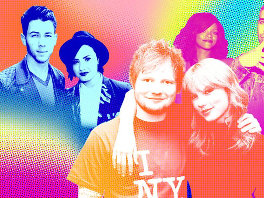 Nick Jonas, Demi Lovato, Ed Sheeran, Taylor Swift, Rihanna y Drake