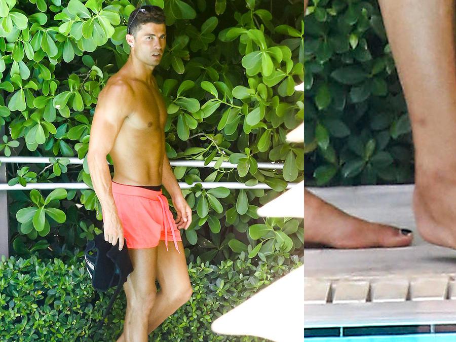 Cristiano Ronaldo se pinta de negro las uñas de los pies