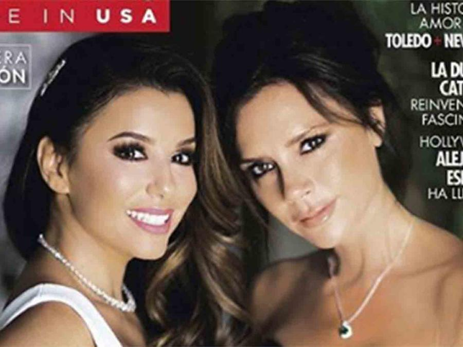 """Eva Longoria y Victoria Beckham en la primera edición de la revista """"Hola"""" en Estados Unidos"""