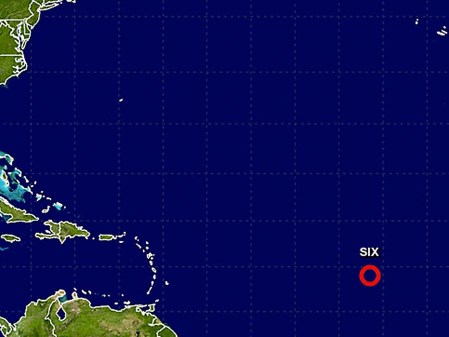 Gráfico de la localización hasta el momento de la sexta depresión tropical de la temporada en el Atlántico