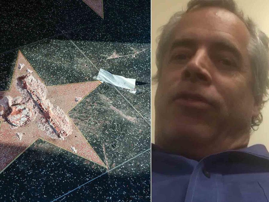 James Otis vandalizó la estrella de Donald Trump en Hollywood