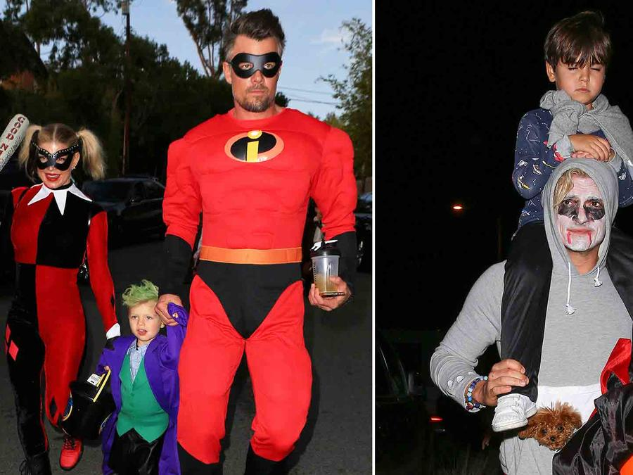 Fergie y su familia, Orlando Bloom y su hijo haciendo Trick or Treat en Halloween 2016