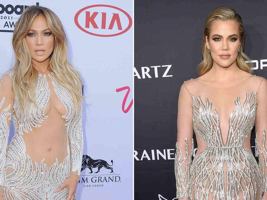 Jennifer Lopez en los Billboard Music Awards 2015 y Khloé Kardashian en el Angel Ball 2016