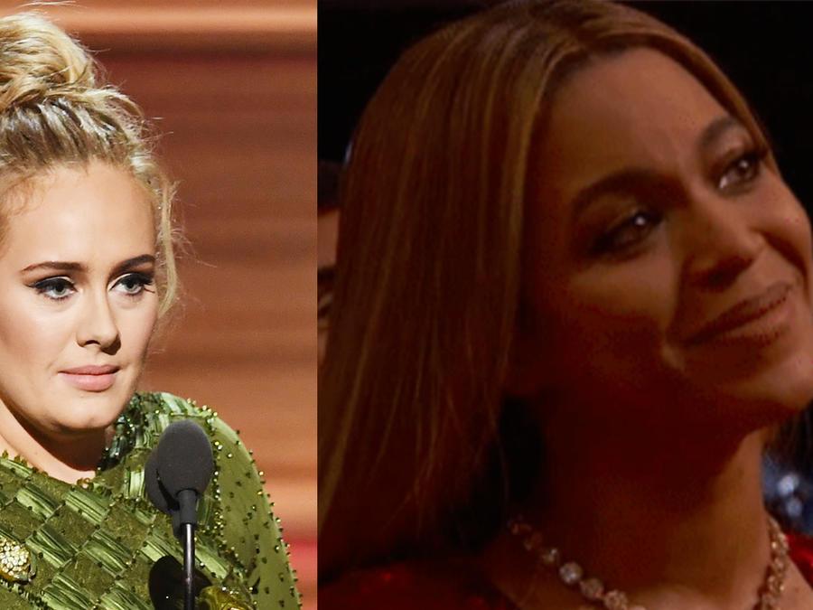 Adele hace llorar a Beyoncé durante su discurso de aceptación en los Grammys 2017