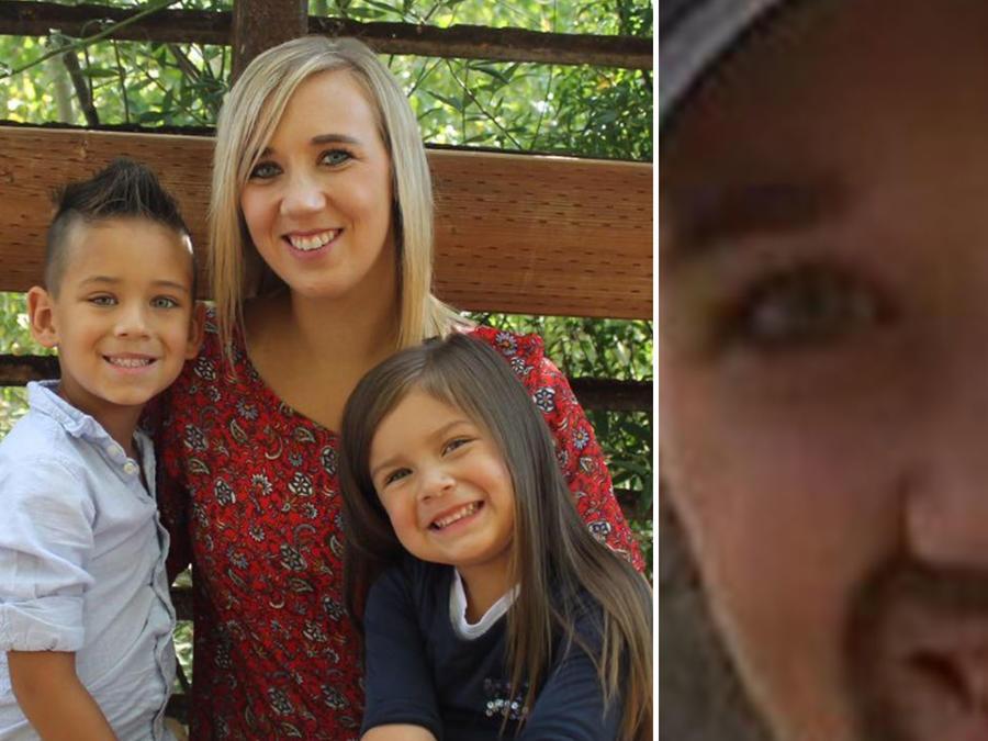 Whitney Kittrell con sus hijos y vestida de hombre