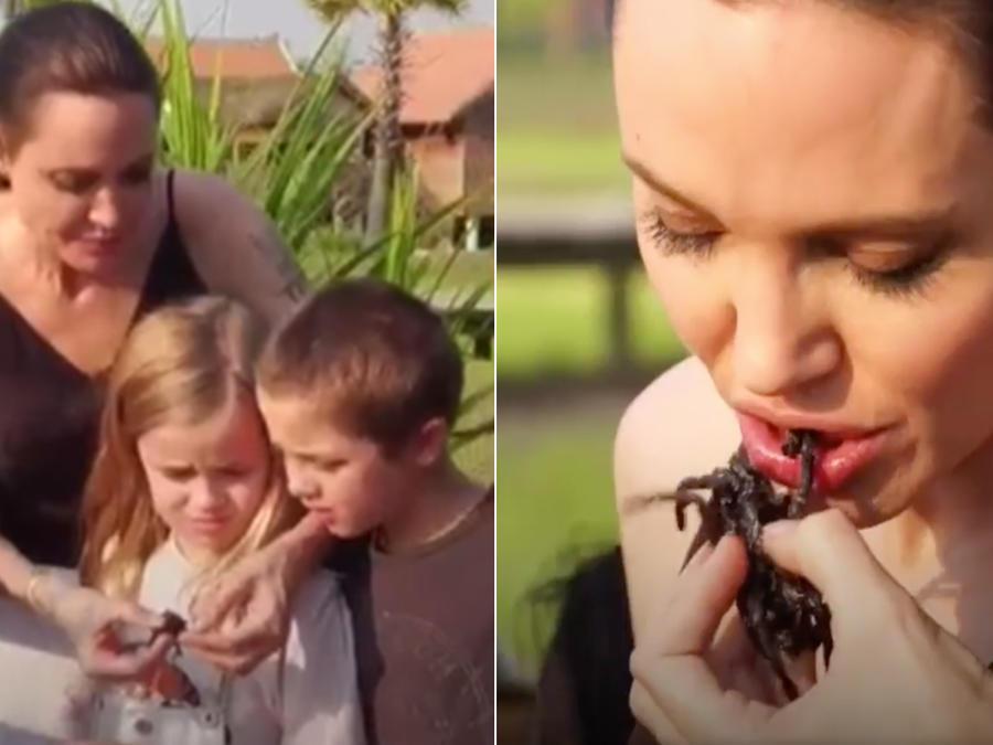 Angelina Jolie y sus hijos comen escorpiones y tarántulas en Camboya