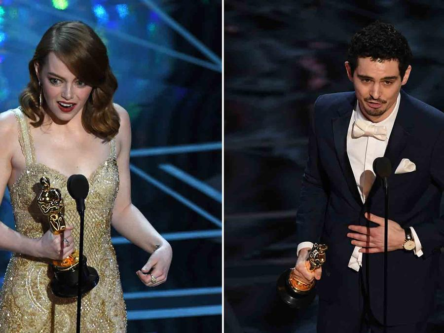 Emma Stone y Damien Chazelle en los Oscars 2017