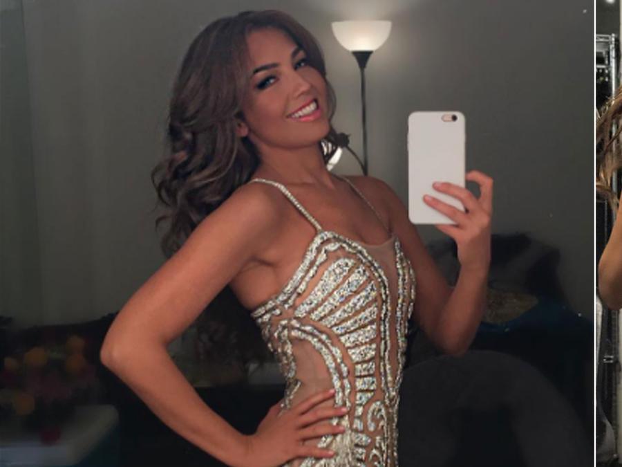 Thalía usando faja