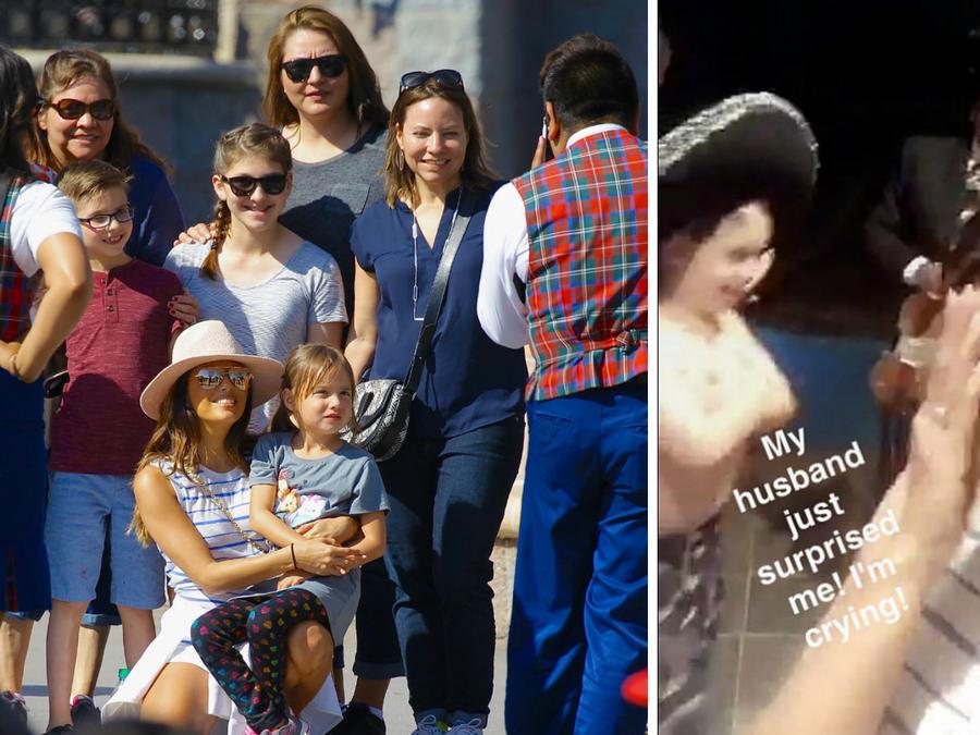 Eva Longoria con su familia en Disney y con un mariachi al fondo
