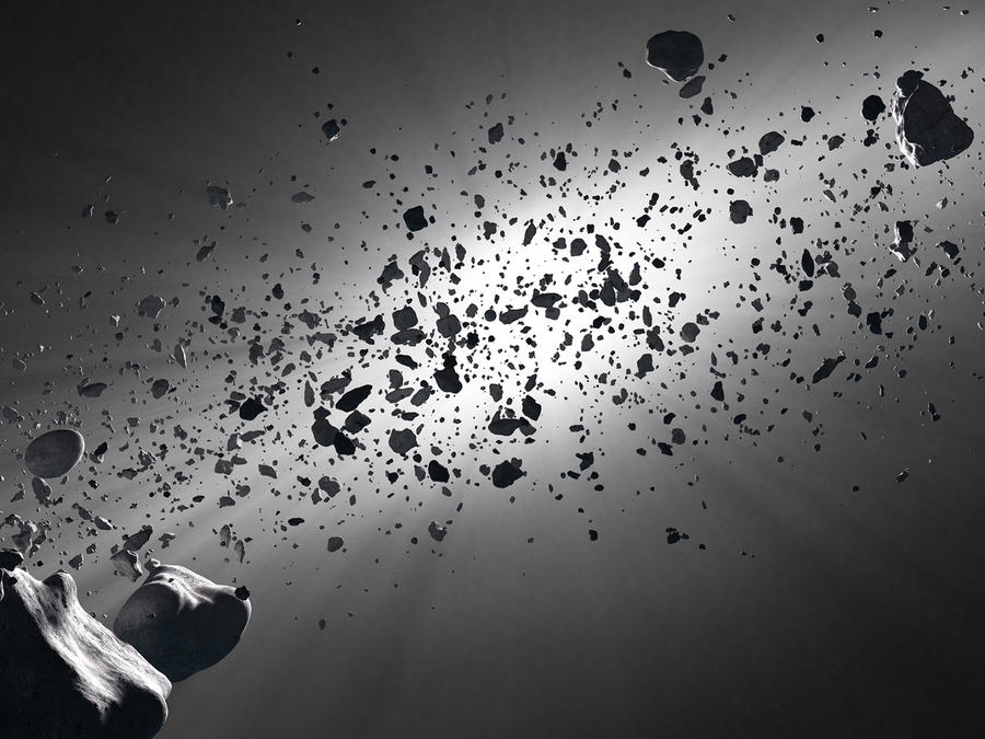 Escombros de asteroide en el espacio