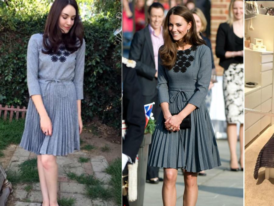 Amanda Bell, Kate Middleton y Kate Urbanksa usando el mismo vestido gris