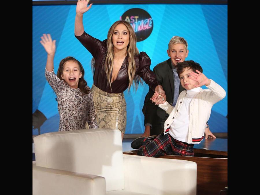 Jennnifer Lopez y sus hijos en el show de Ellen DeGeneres