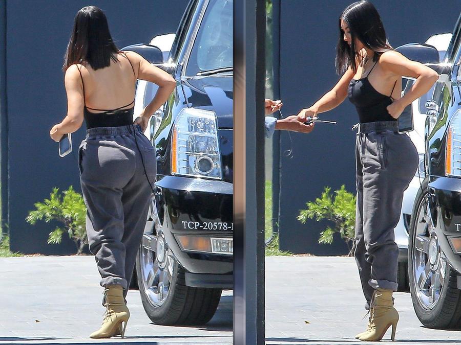 Kim Kardashian lució su trasero en un cómodo sweatpants