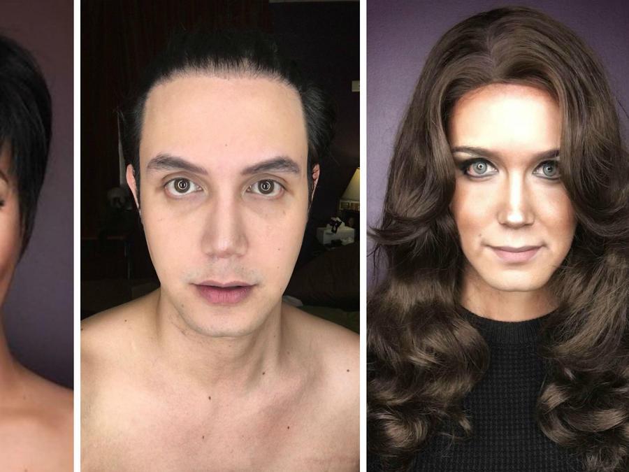 Paolo Ballesteros caracterizado como Kris Jenner y Kate Middleton