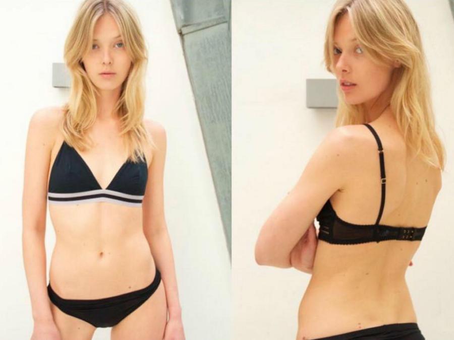 Ulrikke Luoise modelando ropa íntima