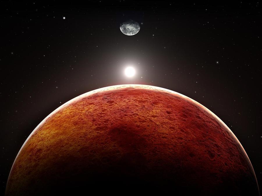 Planetas Marte y la Tierra