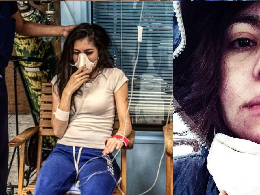 Pilar Olave usando mascarillas de gas