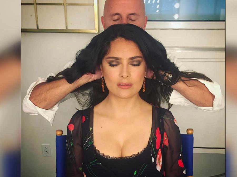 Salma Hayek disfruta de un masaje